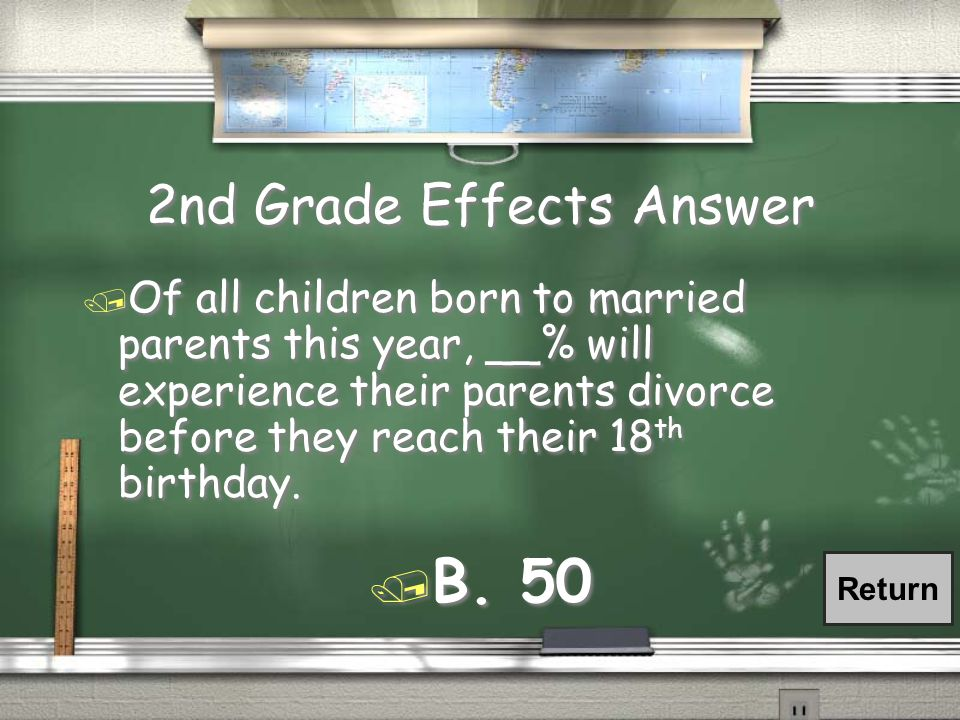 2nd Grade Effects Question / Of all children born to married parents this year, __% will experience their parents divorce before they reach their 18 th birthday.