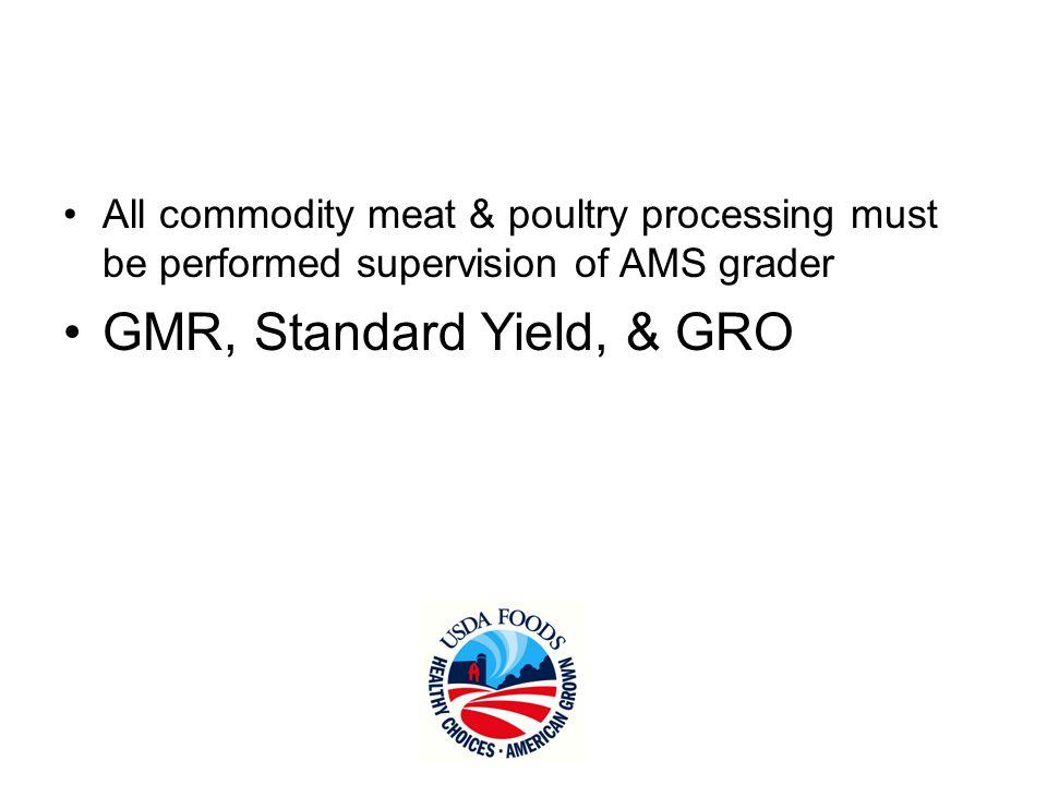 GMR, Standard Yield, & GRO