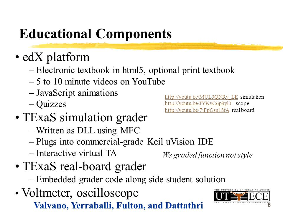 6 Educational Components edX platform – Electronic textbook in html5, optional print textbook – 5 to 10 minute videos on YouTube – JavaScript animations – Quizzes TExaS simulation grader – Written as DLL using MFC – Plugs into commercial-grade Keil uVision IDE – Interactive virtual TA TExaS real-board grader – Embedded grader code along side student solution Voltmeter, oscilloscope Valvano, Yerraballi, Fulton, and Dattathri http://youtu.be/MUL3QNRy_LEhttp://youtu.be/MUL3QNRy_LE simulation http://youtu.be/JYKvC6p8yl0http://youtu.be/JYKvC6p8yl0 scope http://youtu.be/7jFpGsn18fAhttp://youtu.be/7jFpGsn18fA real board We graded function not style 6