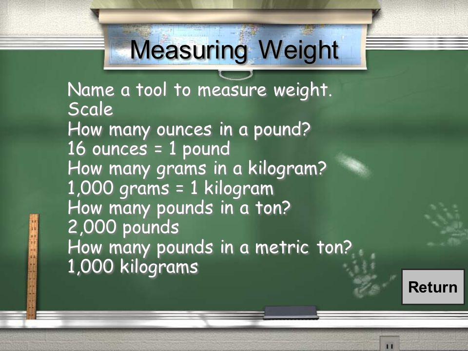 Measuring Capacity Name a tool to measure liquids.