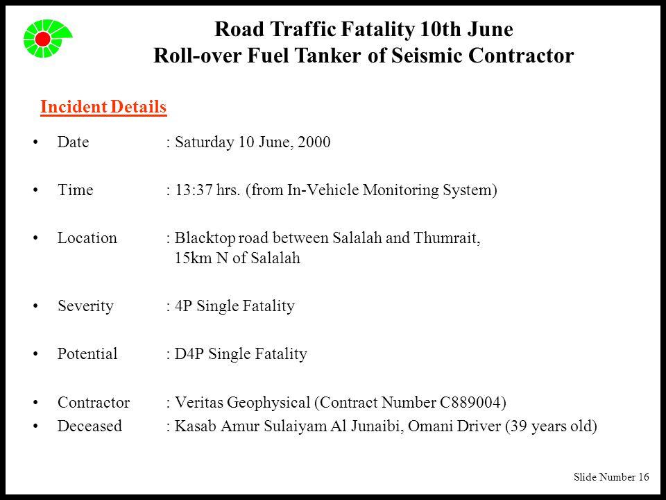 Slide Number 16 Incident Details Date: Saturday 10 June, 2000 Time: 13:37 hrs.