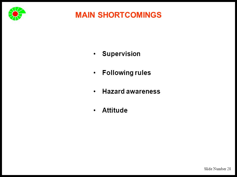 Slide Number 28 MAIN SHORTCOMINGS Supervision Following rules Hazard awareness Attitude
