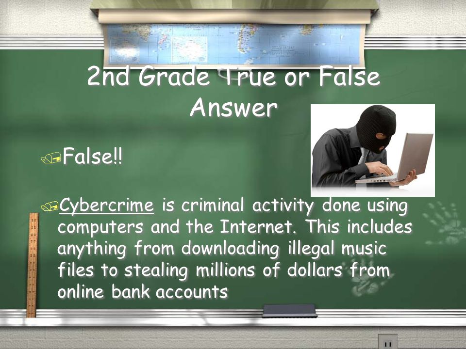 2nd Grade True or False / Cybercrime is the act of being capable of purchasing goods online for a minimal price / True or False .