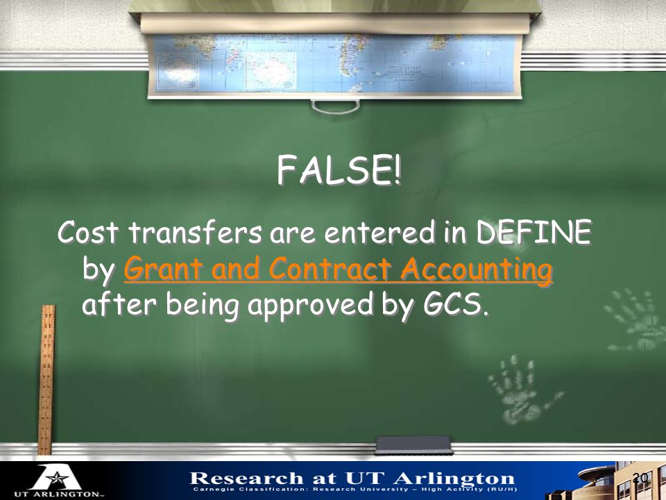 Cost transfers are entered in DEFINE by Department Administrators.