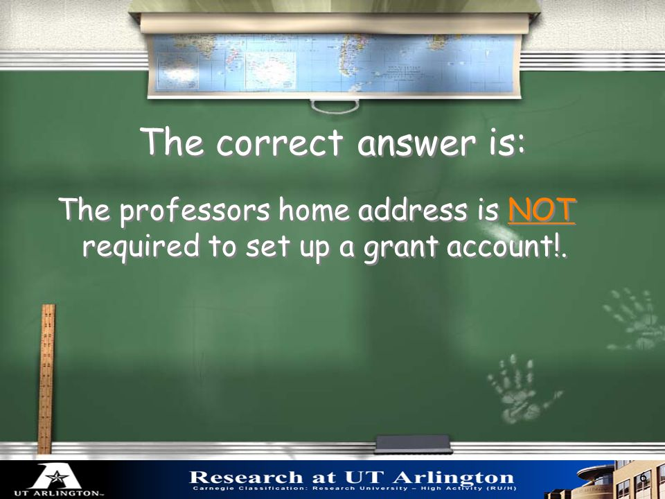 What is NOT required to set up a grant account? 1. Notice of Award 2. Contract 3. Assignment of an Account Number 4. Professor's Home Address 5. BlueS