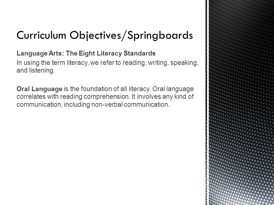 Curriculum Objectives/Springboards Concepts of Print includes right to left, up to Concepts of Print: Concepts of print include right to left, up to down, front to back, and one to one matching of words to speech.