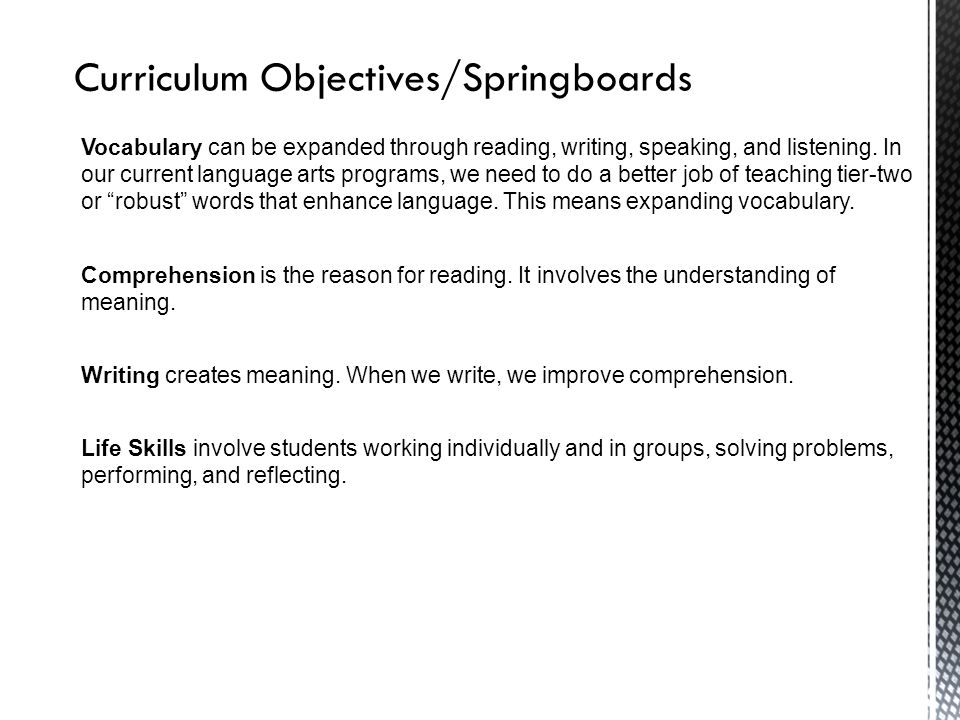 Curriculum Objectives/Springboards Vocabulary can be expanded through reading, writing, speaking, and listening. In our current language arts programs