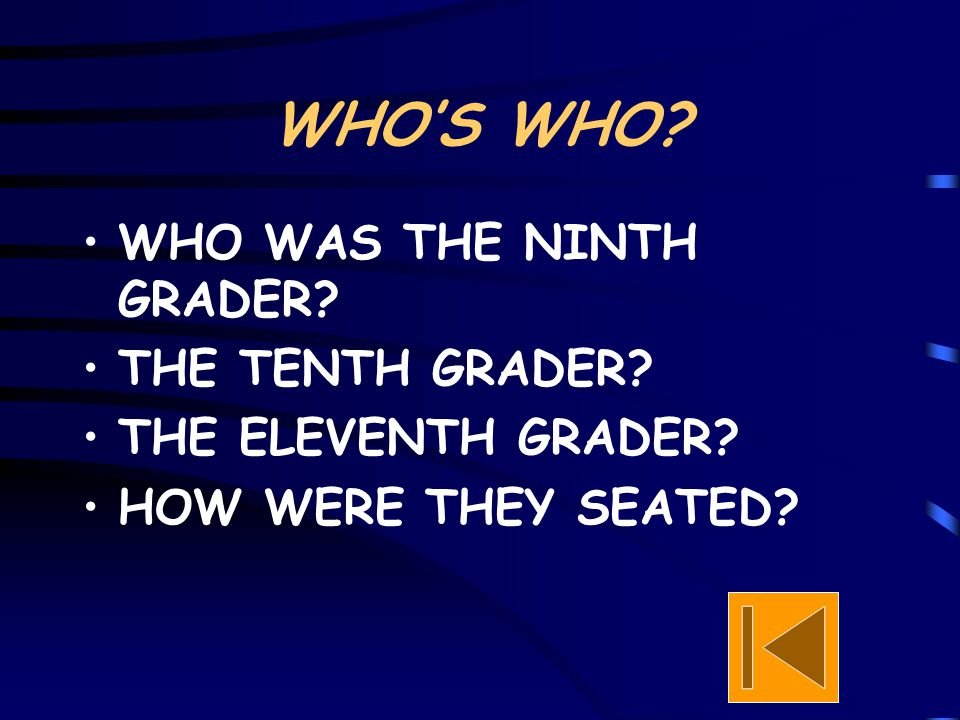 WHO'S WHO? WHO WAS THE NINTH GRADER? THE TENTH GRADER? THE ELEVENTH GRADER? HOW WERE THEY SEATED?