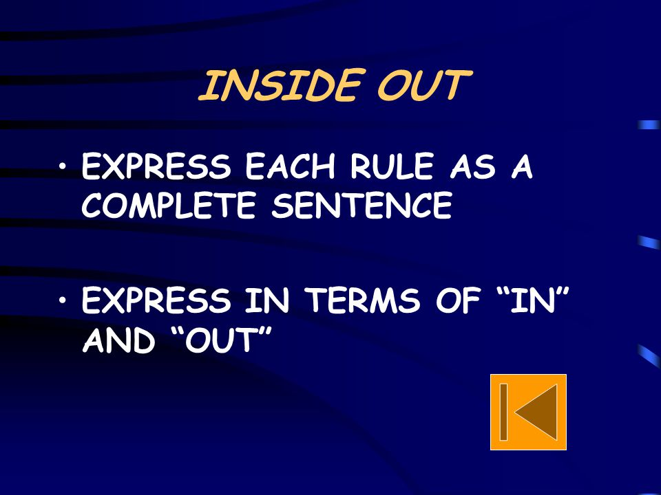 """INSIDE OUT EXPRESS EACH RULE AS A COMPLETE SENTENCE EXPRESS IN TERMS OF """"IN"""" AND """"OUT"""""""