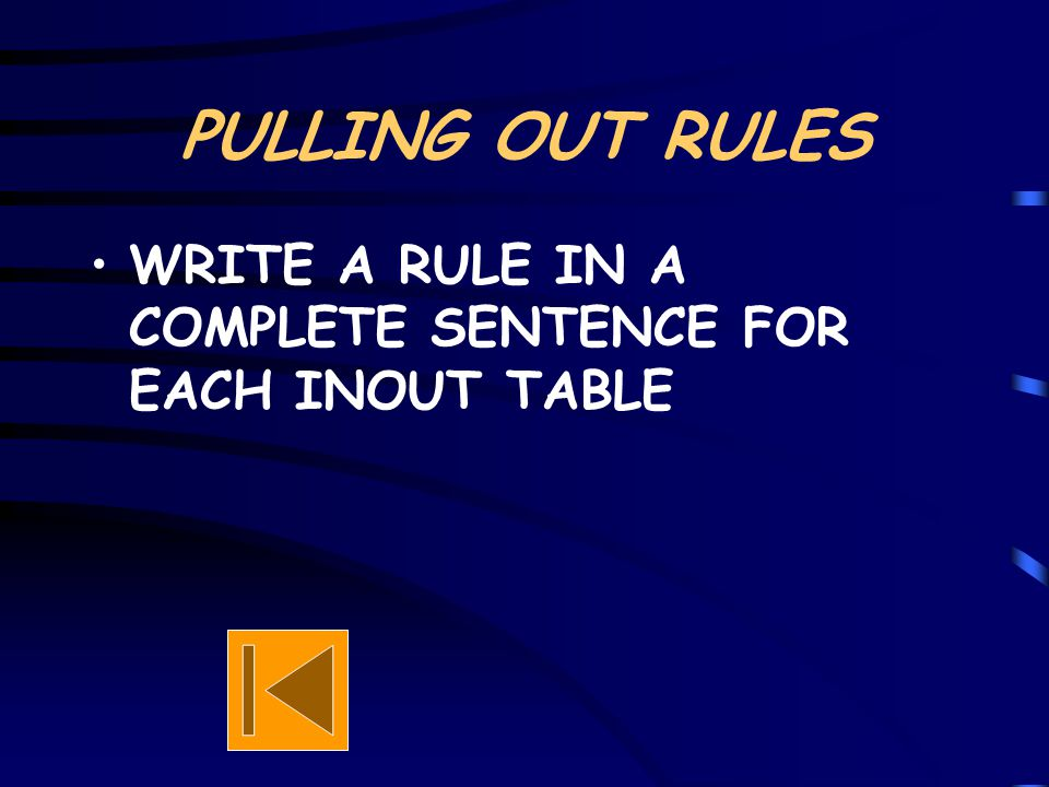 PULLING OUT RULES WRITE A RULE IN A COMPLETE SENTENCE FOR EACH INOUT TABLE