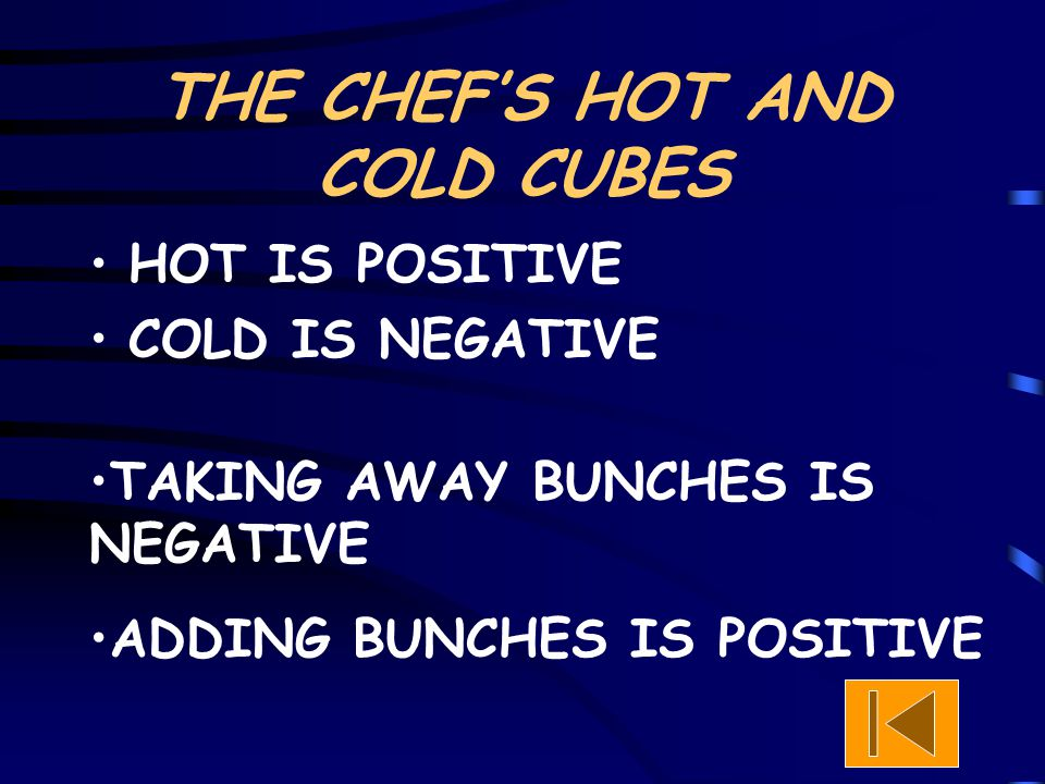 THE CHEF'S HOT AND COLD CUBES HOT IS POSITIVE COLD IS NEGATIVE TAKING AWAY BUNCHES IS NEGATIVE ADDING BUNCHES IS POSITIVE