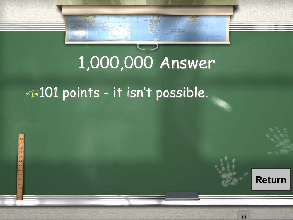 1,000,000 Question / You need at least 930 points to get an A for your final score.