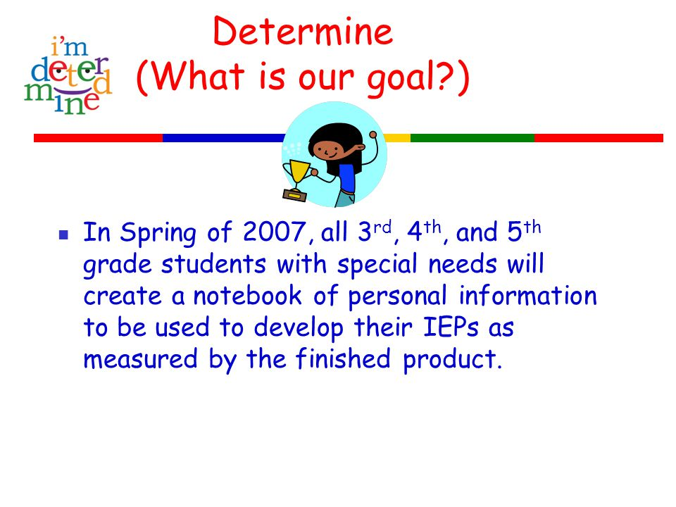 Determine (What is our goal ) In Spring of 2007, all 3 rd, 4 th, and 5 th grade students with special needs will create a notebook of personal information to be used to develop their IEPs as measured by the finished product.