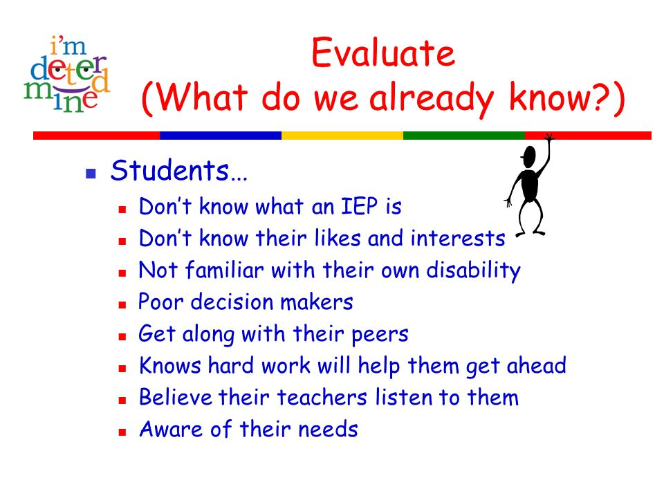 Think (How do we measure our goal?) Use the IEP Participation Continuum Checklist Use of completed power points, notebooks, brochures and posters.