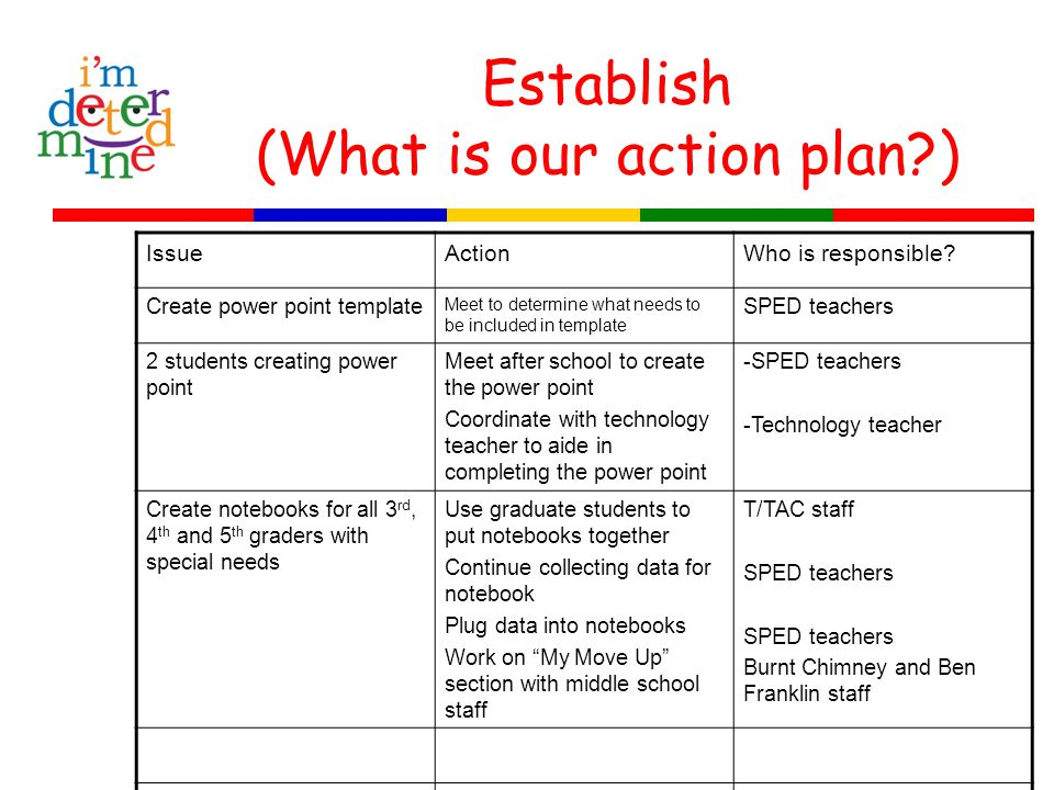 Establish (What is our action plan ) IssueActionWho is responsible.