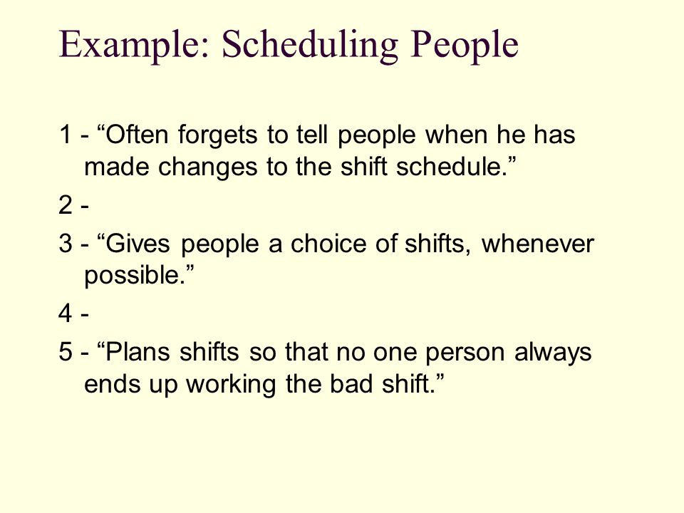 "Example: Scheduling People 1 - ""Often forgets to tell people when he has made changes to the shift schedule."" 2 - 3 - ""Gives people a choice of shifts"