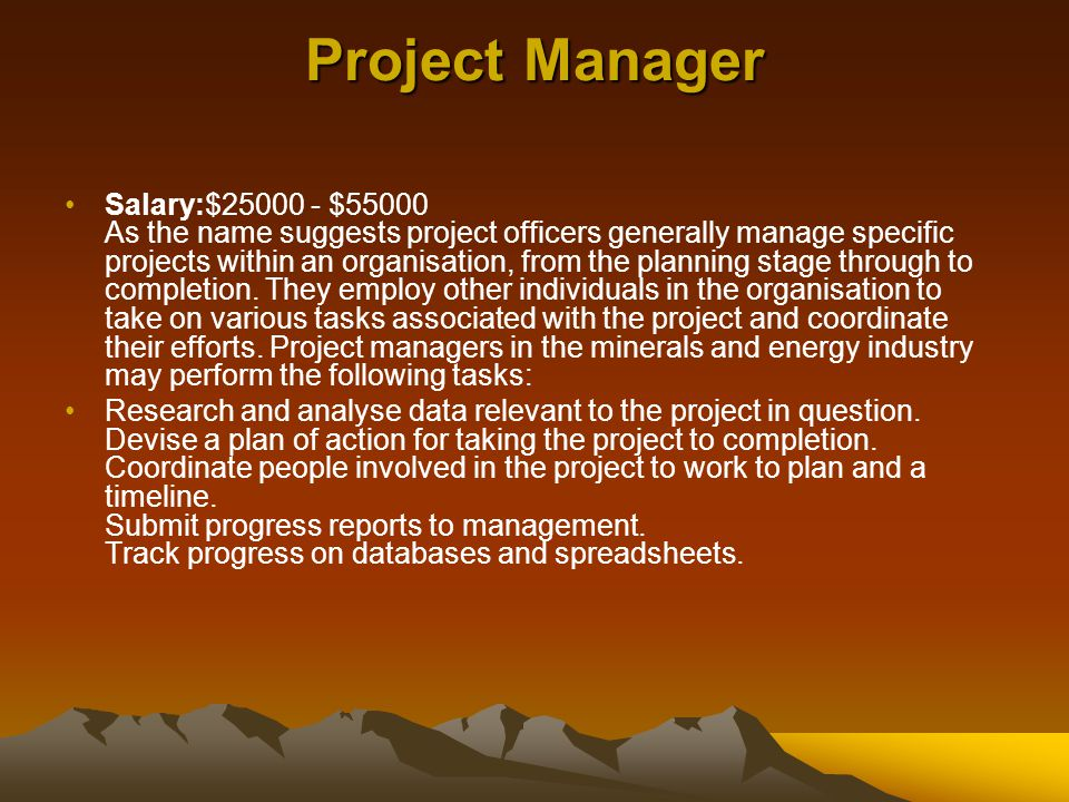 Project Manager Salary:$25000 - $55000 As the name suggests project officers generally manage specific projects within an organisation, from the plann
