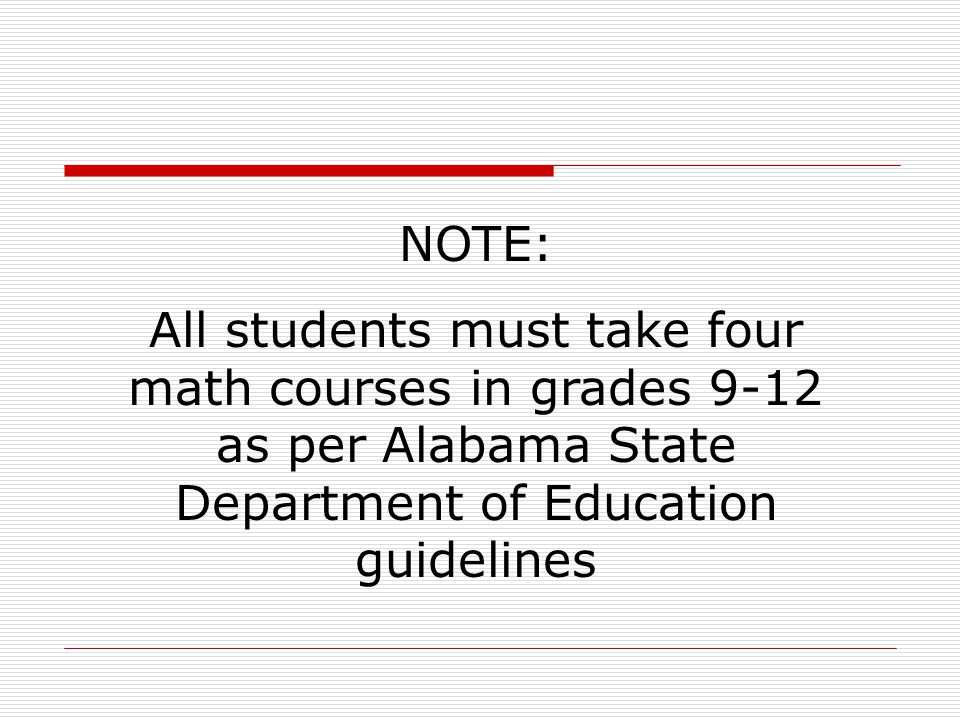 NOTE: All students must take four math courses in grades 9-12 as per Alabama State Department of Education guidelines