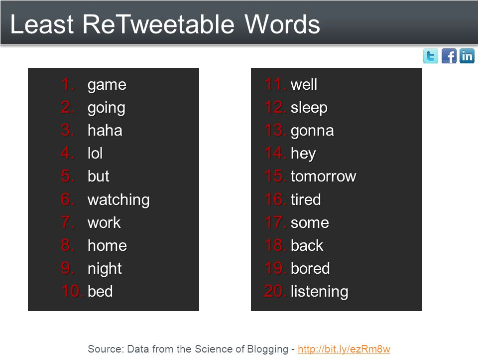 Least ReTweetable Words Source: Data from the Science of Blogging - http://bit.ly/ezRm8whttp://bit.ly/ezRm8w 1.