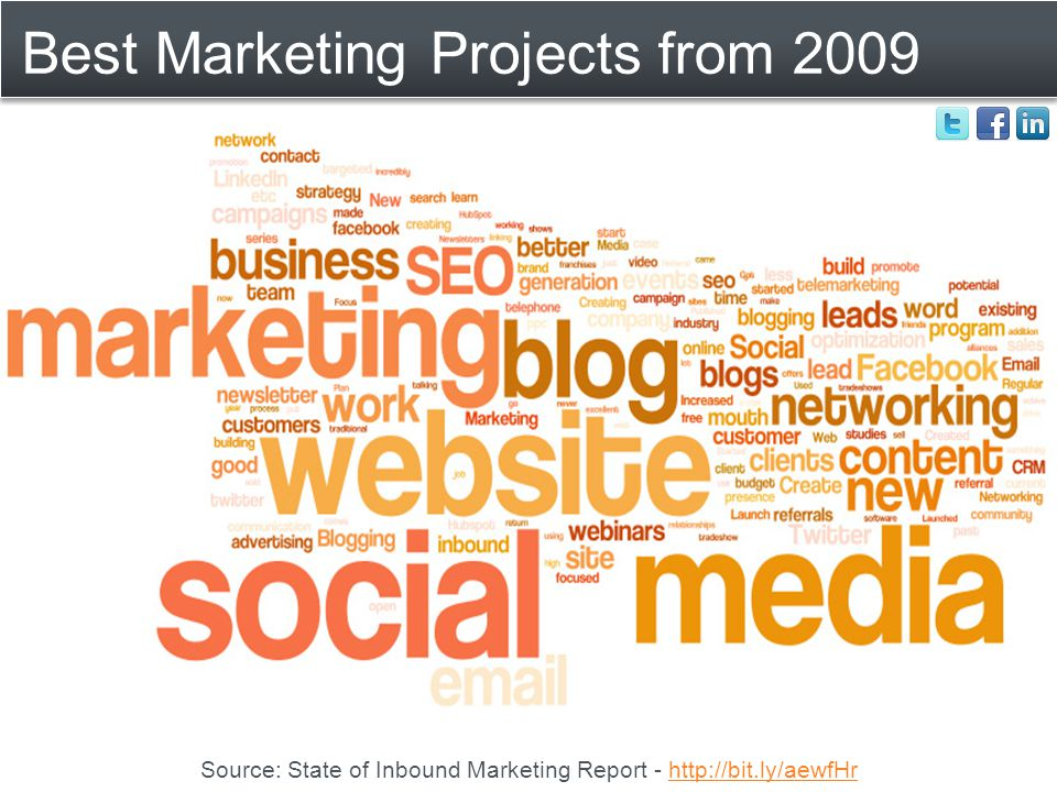 Best Marketing Projects from 2009 Source: State of Inbound Marketing Report - http://bit.ly/aewfHrhttp://bit.ly/aewfHr