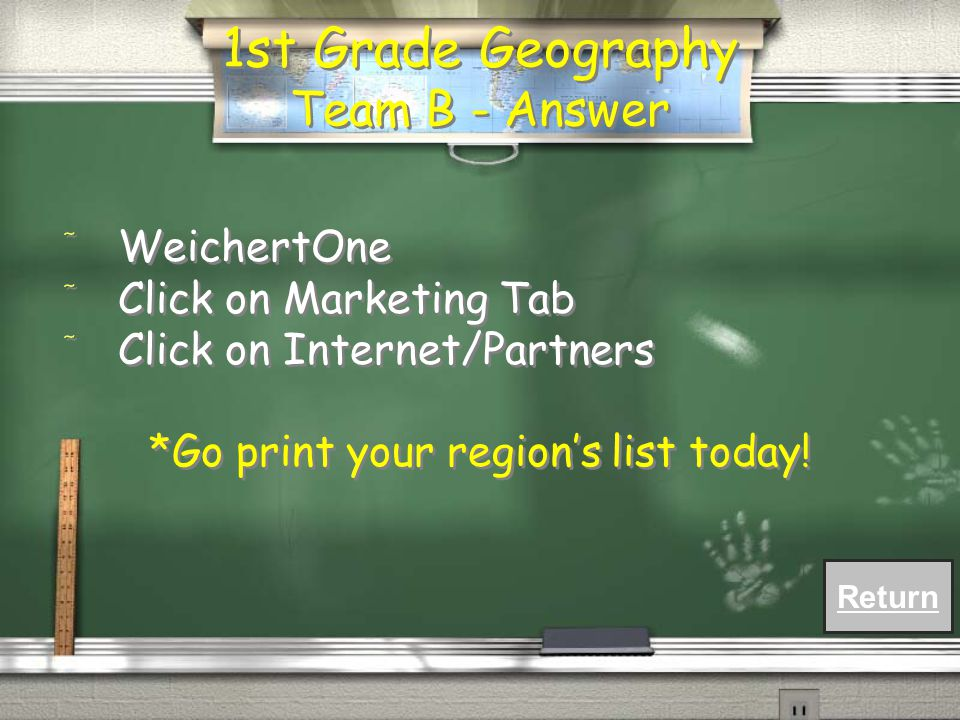 1st Grade Geography Team B - Question / Where can you find a list of Weichert Lead Network's Internet partners