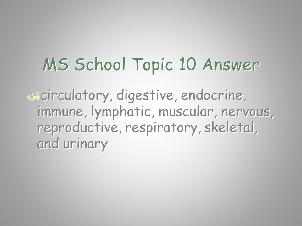 MS School Topic 10 Question / What is the name of any two systems / in the human body? / What is the name of any two systems / in the human body?