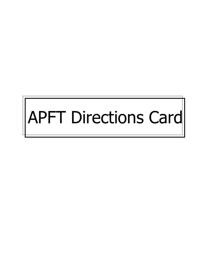 APFT Directions Card