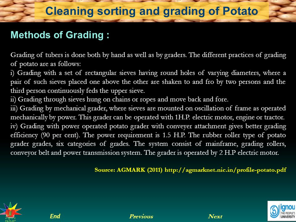 Next End Previous Cleaning sorting and grading of Potato Methods of Grading : Grading of tubers is done both by hand as well as by graders. The differ