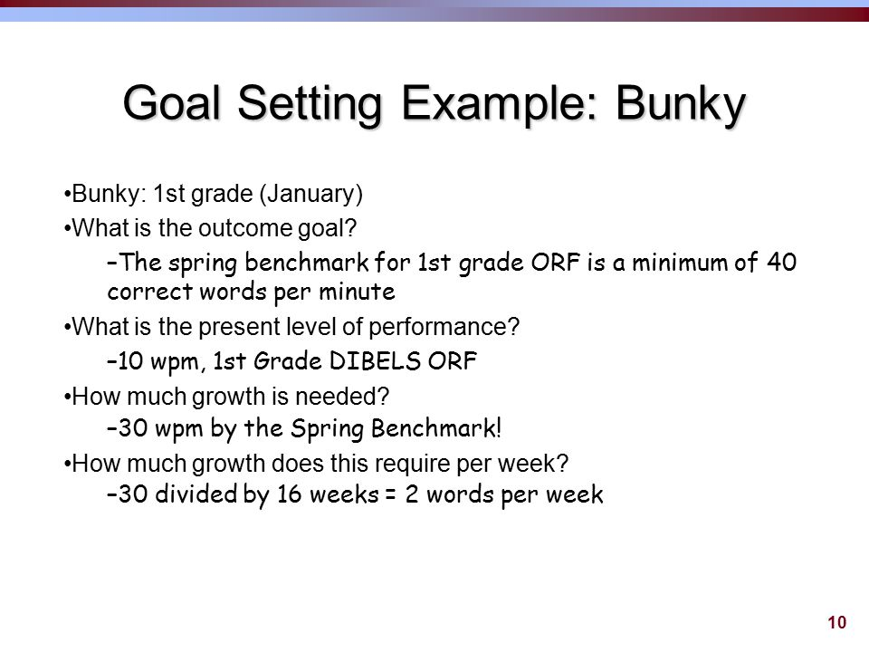 9 Identify Goal and Timeline ©What is the outcome goal.