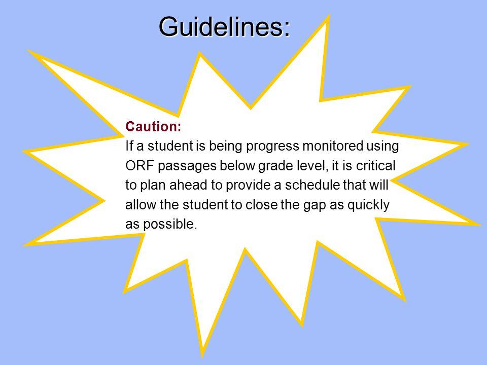 21 Monitoring Sue's Progress: 4 Monitor regularly with third grade DIBELS ORF passages.