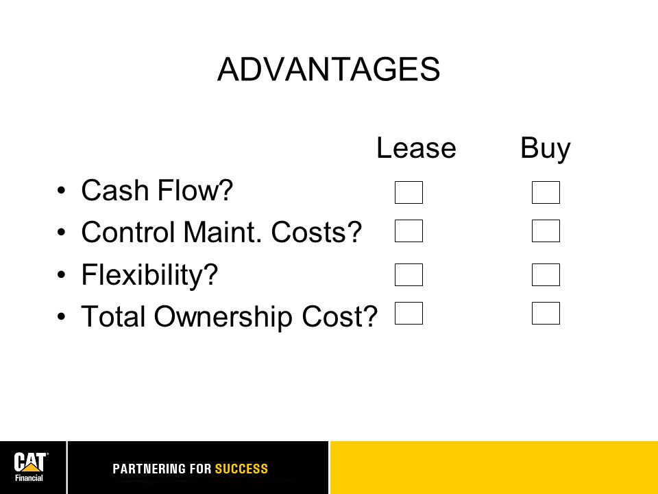 ADVANTAGES Lease Buy Cash Flow? Control Maint. Costs? Flexibility? Total Ownership Cost?