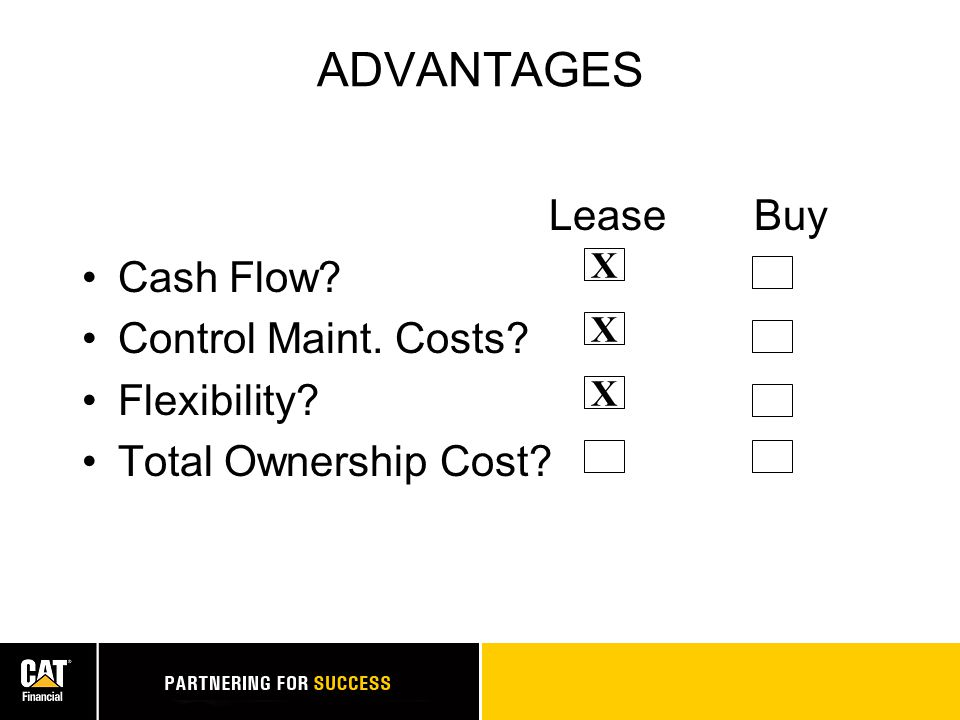 ADVANTAGES Lease Buy Cash Flow? Control Maint. Costs? Flexibility? Total Ownership Cost? X X X