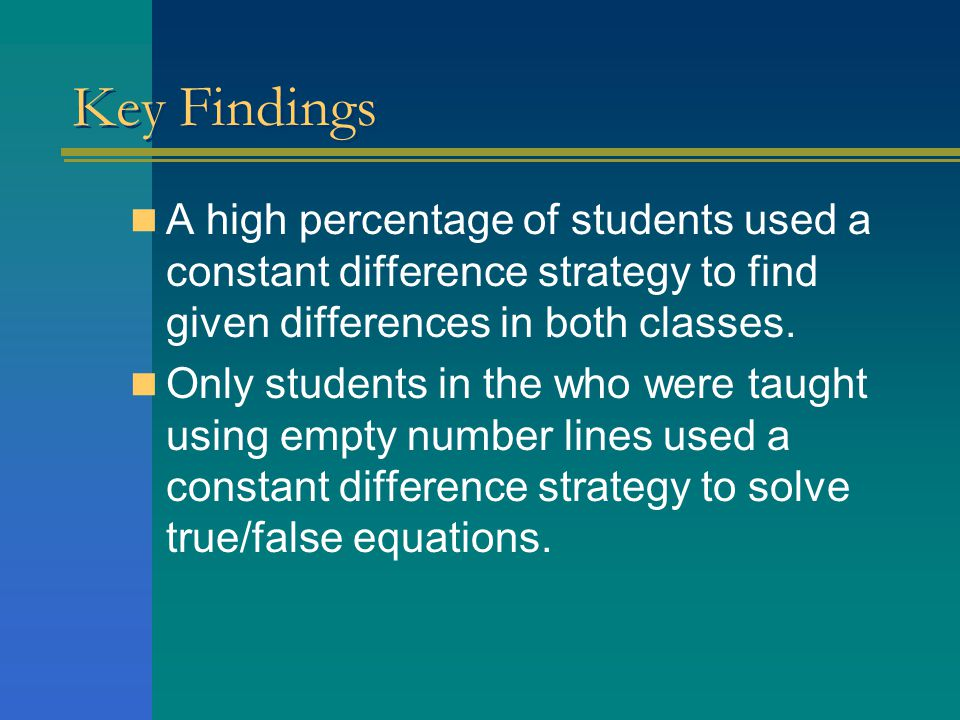 Key Findings A high percentage of students used a constant difference strategy to find given differences in both classes.
