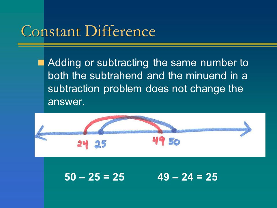 Use of Constant Difference Strategy There was no evidence that a student changed a subtraction problem into an easier problem using a constant difference strategy.
