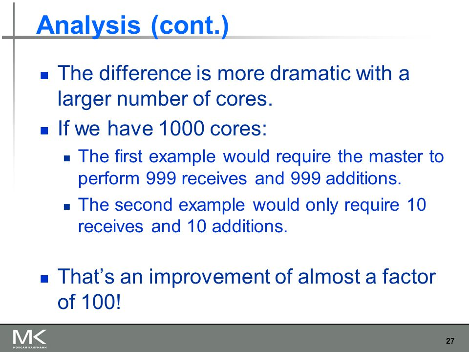 27 Analysis (cont.) The difference is more dramatic with a larger number of cores.