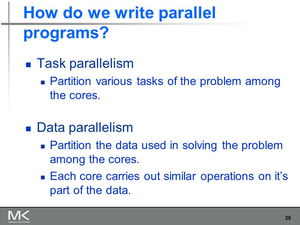 28 How do we write parallel programs.