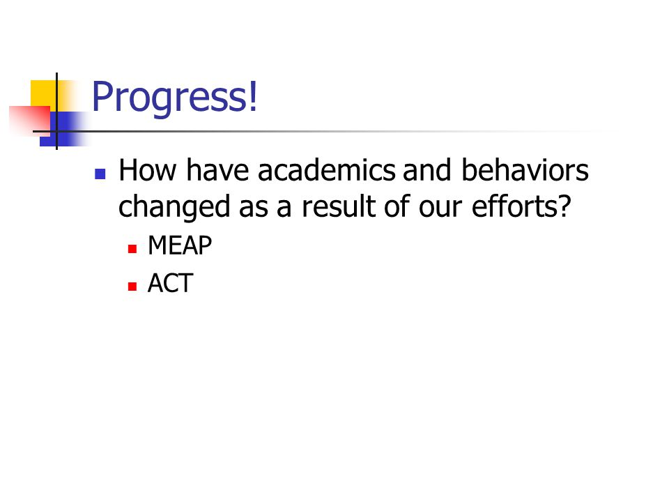 Progress! How have academics and behaviors changed as a result of our efforts MEAP ACT