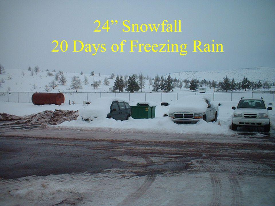 24 Snowfall 20 Days of Freezing Rain