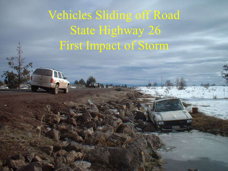 Vehicles Sliding off Road State Highway 26 First Impact of Storm