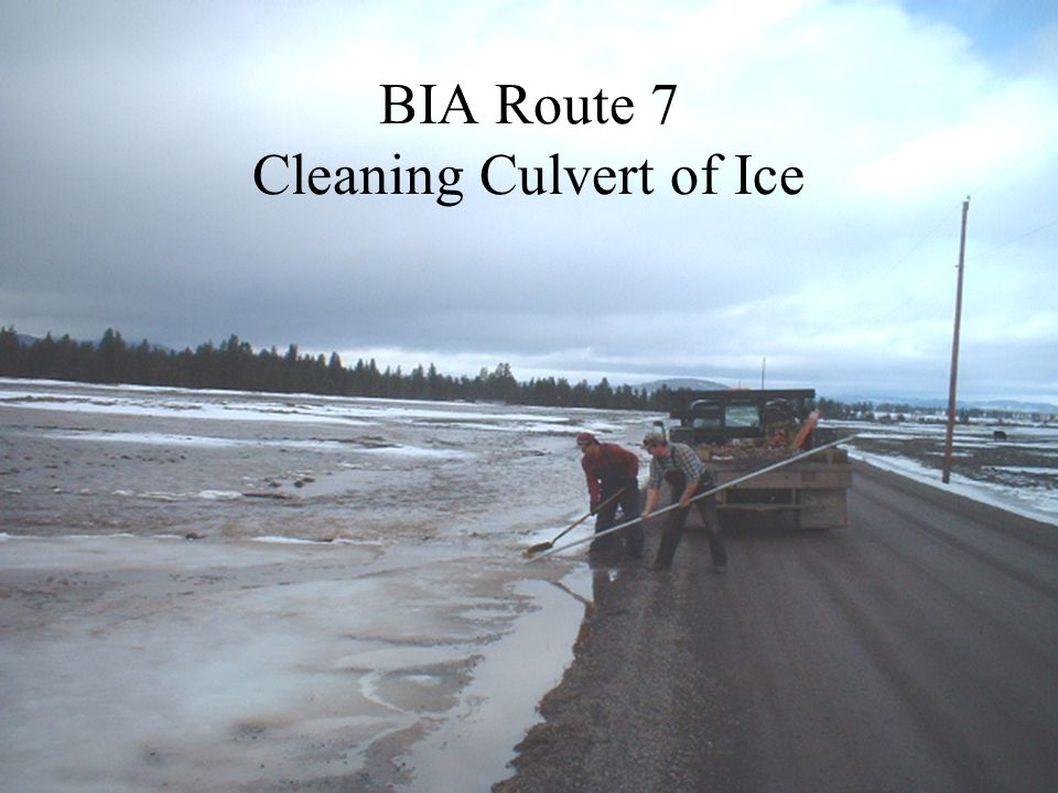 BIA Route 7 Cleaning Culvert of Ice