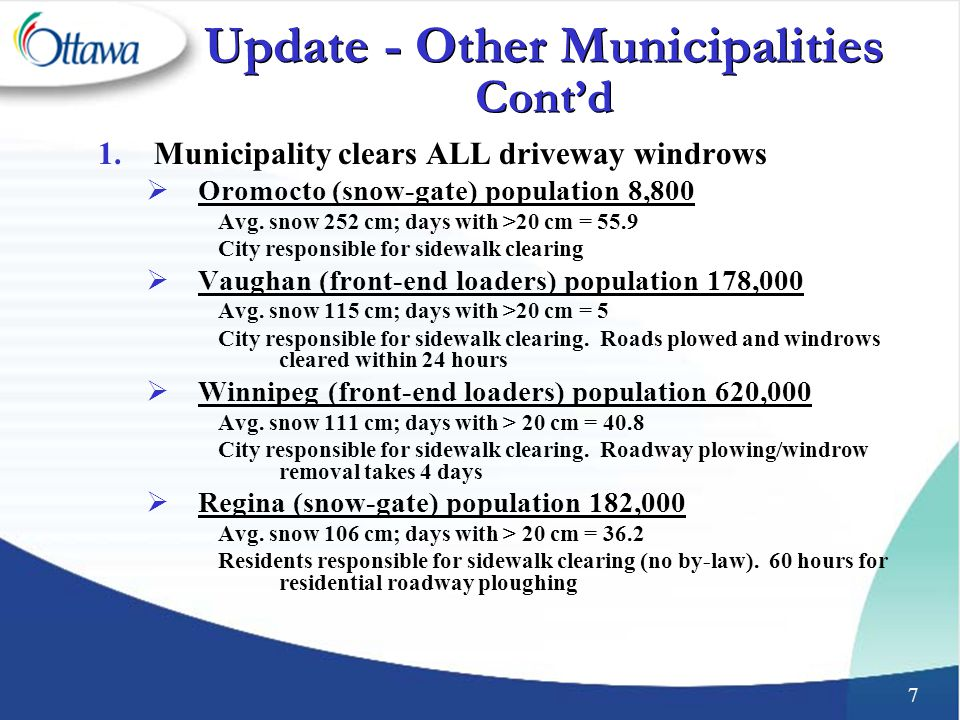 7 Update - Other Municipalities Cont'd 1.Municipality clears ALL driveway windrows  Oromocto (snow-gate) population 8,800 Avg.