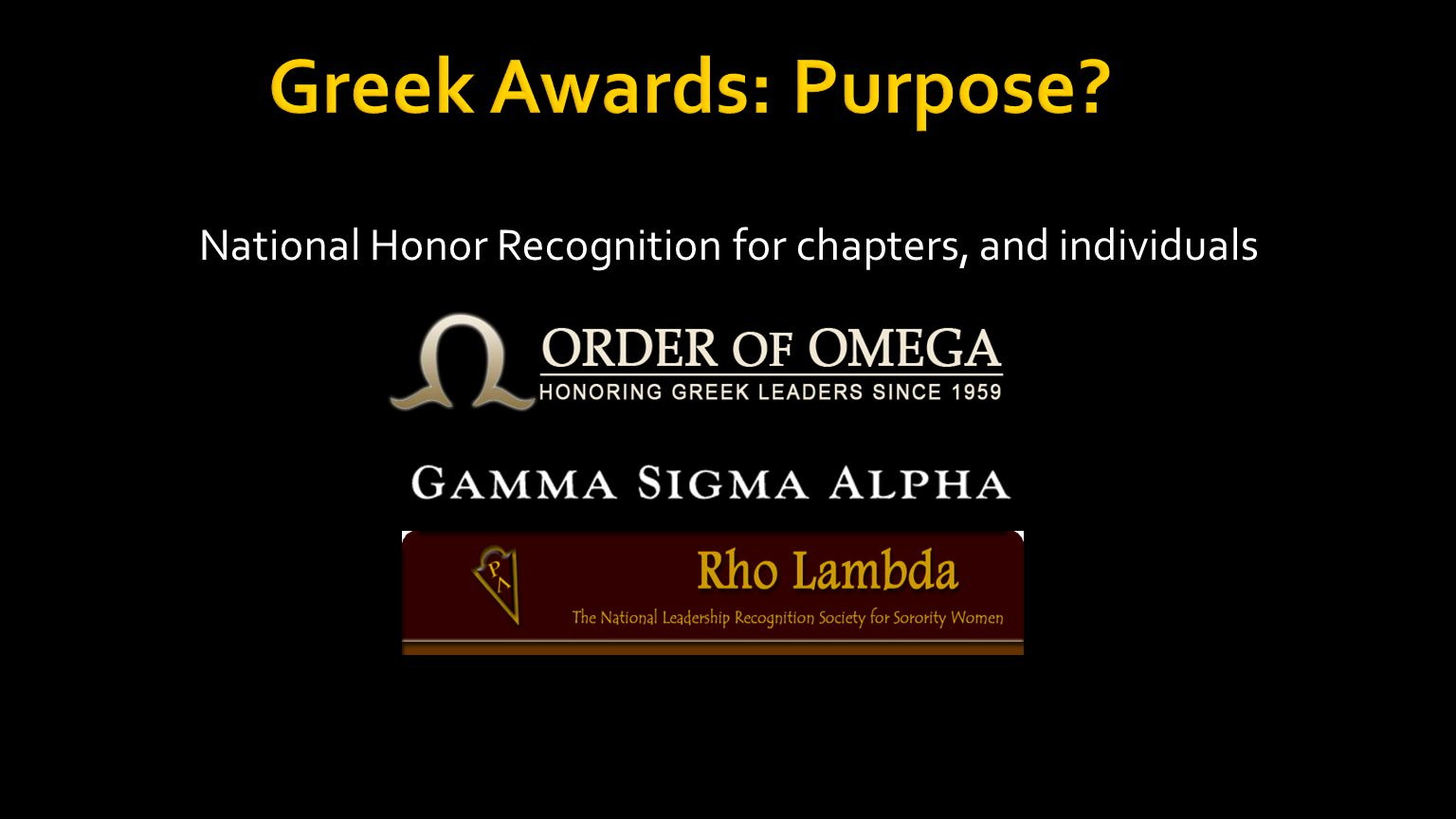National Honor Recognition for chapters, and individuals