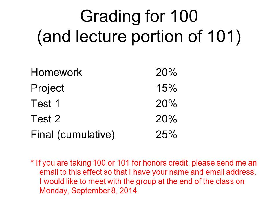 Grading for 100 (and lecture portion of 101) Homework20% Project15% Test 120% Test 220% Final (cumulative)25% * If you are taking 100 or 101 for honors credit, please send me an email to this effect so that I have your name and email address.