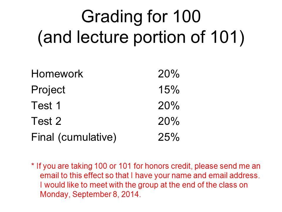 Grading for 101 Lecture 75% Discussion/Laboratory 25%