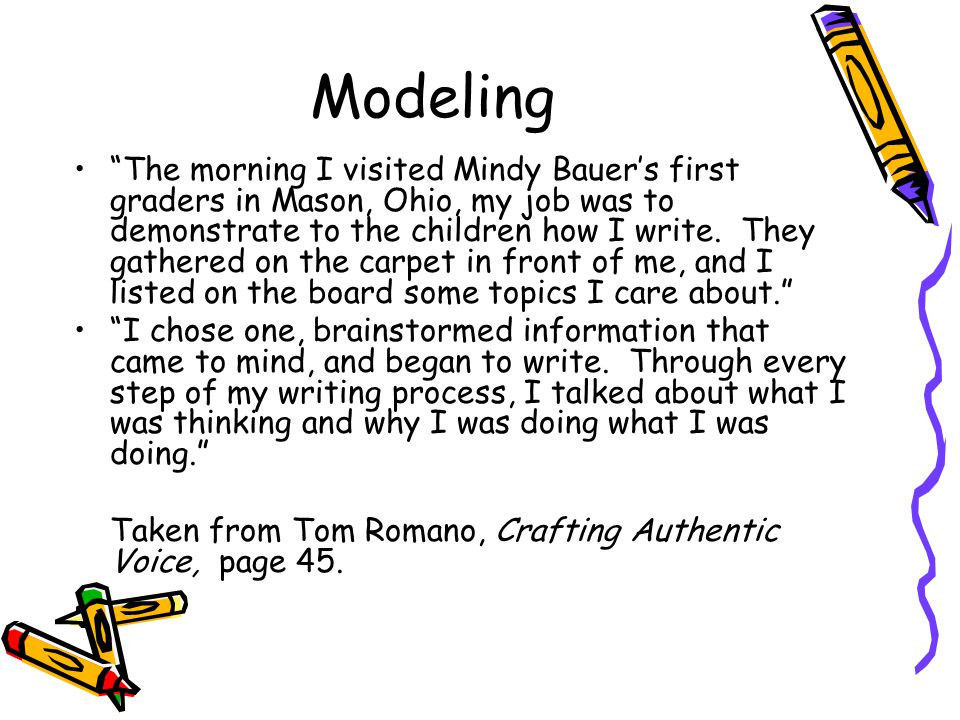 Modeling The morning I visited Mindy Bauer's first graders in Mason, Ohio, my job was to demonstrate to the children how I write.