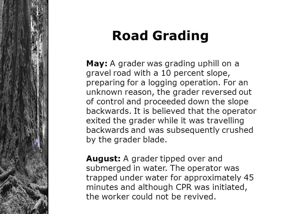 Road Grading May: A grader was grading uphill on a gravel road with a 10 percent slope, preparing for a logging operation. For an unknown reason, the
