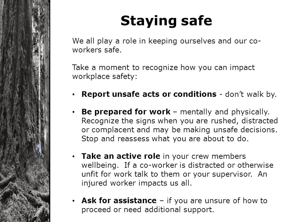 Staying safe We all play a role in keeping ourselves and our co- workers safe. Take a moment to recognize how you can impact workplace safety: Report