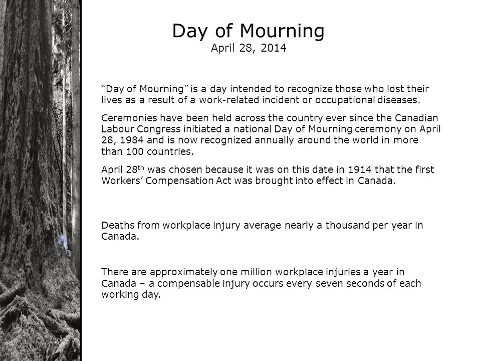 Day of Mourning April 28, 2014 Day of Mourning is a day intended to recognize those who lost their lives as a result of a work-related incident or occupational diseases.