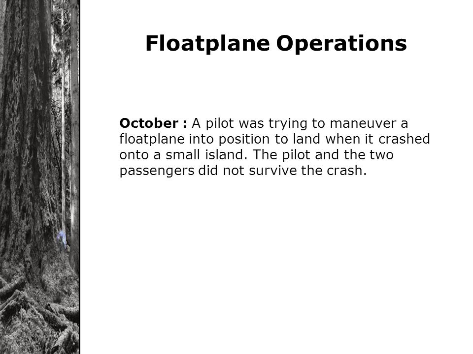 Floatplane Operations October : A pilot was trying to maneuver a floatplane into position to land when it crashed onto a small island. The pilot and t