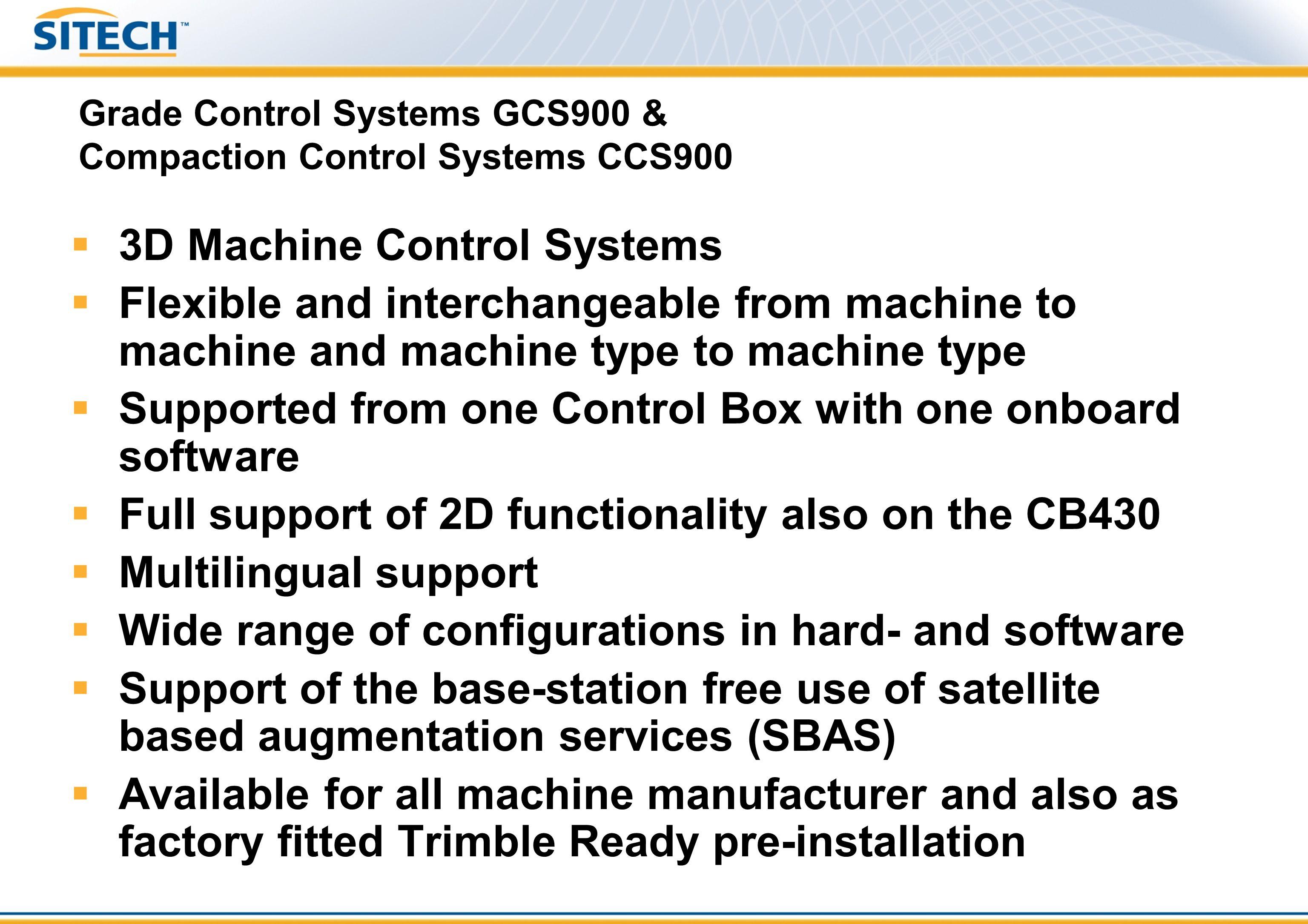 Trimble GCS900: 3D Excavator - Single GNSS SNRMS9X0CB430 LB400 Boom AS450 Bucket AS450 Stick AS450 Tilt-bucket AS450 (optional) Platform AS21-2 Rototilt AS455 (optional) Harness SNM930 or